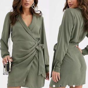 ASOS collared wrap mini dress in khaki